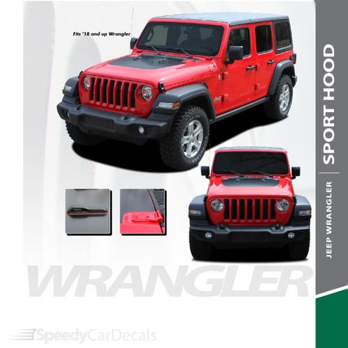 SPORT HOOD : 2018-2020 2021 Jeep Wrangler Hood Blackout Vinyl Graphics Decal Stripe Kit