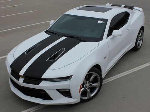 Front hood view of 2016 Camaro Duel Rally Stripes CAM SPORT 2016 2017 2018