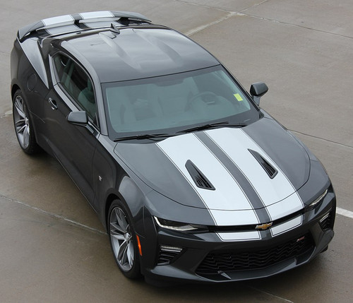 Front view 2017 Camaro SS Rally Stripes 3M CAM SPORT PIN | 2016 2017 2018 Camaro Racing Stripes