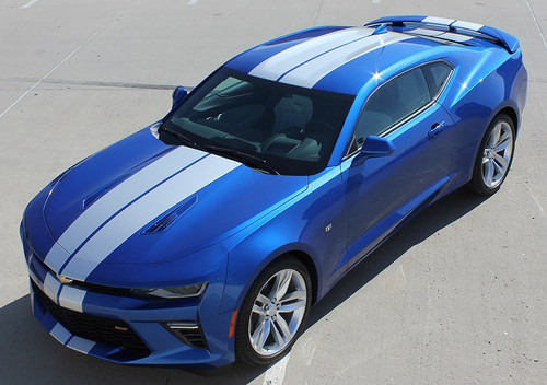Front side view of SS Super Sport Chevy Camaro Stripes TURBO RALLY 2016-2018