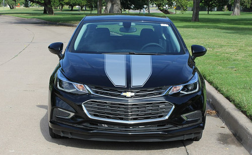 Front view black 2018 Chevy Cruze Dual Racing Stripes DRIFT RALLY 3M 2016-2019