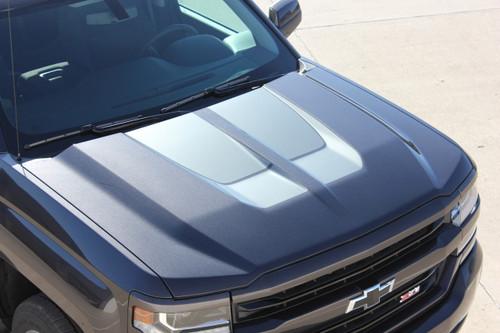 Hood View of Black 2016 2017 2018 Chevy Silverado Hood Stripes