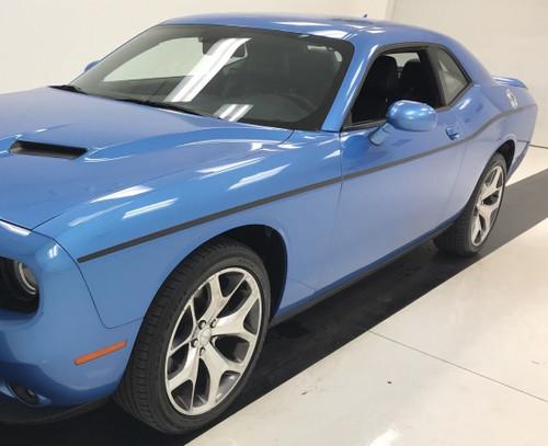 Side of blue 2015 Dodge Challenger Side Stripes SXT SIDE KIT 2011-2020 2021