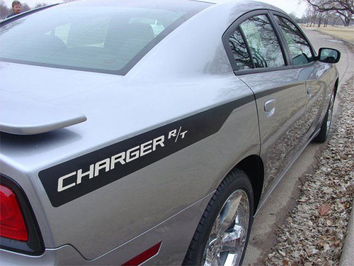 Rear of Gray 2014 Dodge Charger Decals RECHARGE 2011 2012 2013 2014