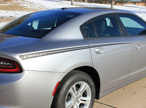 Side View of 2015 Dodge Charger Vinyl Graphics RIVE KIT 2015-2020 2021