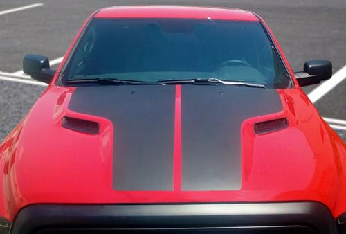 Hood View of Red Dodge Ram - SAVE! Dodge Ram Hood Stripes HEMI HOOD 2009-2019 Factory style!