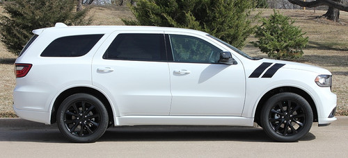 Side view of White  2020 Dodge Durango Hood Decals  DOUBLE BAR 2011-2019 2020 2021