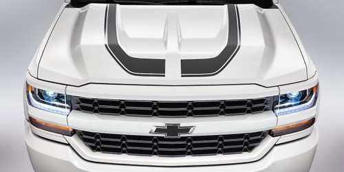 White Chevy Silverado Hood Decals FLOW HOOD Stripes 2016 2017 2018
