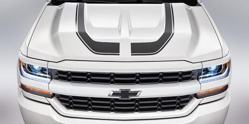 White Chevy Silverado Hood Decals FLOW HOOD Stripes 2016 2017 2018