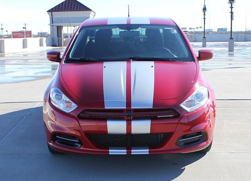 Front of Dodge Dart Hood Stripes DART RALLY 3M 2013 2014 2015 2016