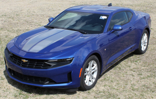 Silver Stripe on Blue Camaro   2019 Chevy Camaro Duel Racing Stripes REV SPORT PIN 2019-2020