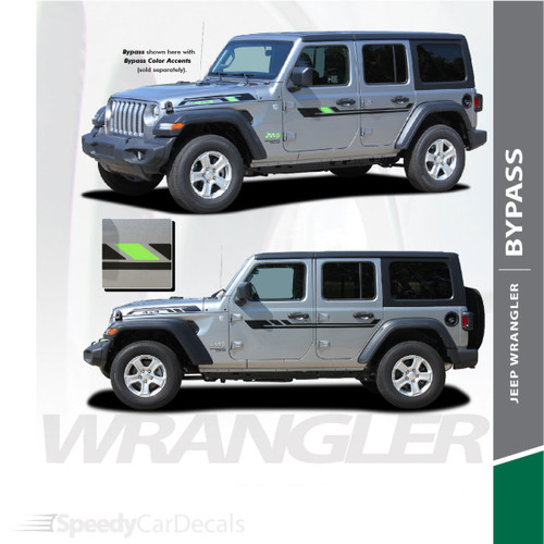 2018-2021 Jeep Wrangler Side Decals BYPASS Stripe Kit 3M Premium Auto Striping Vinyl