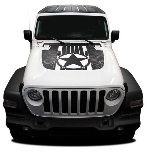 Front hood of white JOURNEY HOOD 2020-2021 Jeep Gladiator Hood Star Digital and Decals Vinyl Graphics Stripe Kit