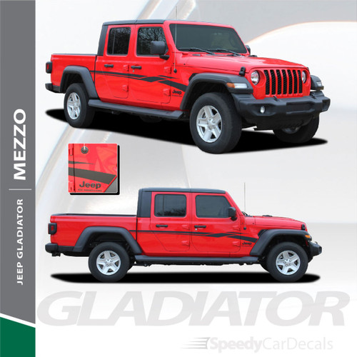 MEZZO : Jeep Gladiator Side Door Decals Vinyl Graphics Stripe Kit for 2020-2021