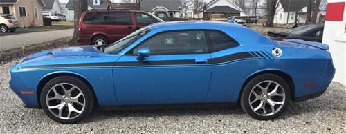 Side of blue Classic! R/T Dodge Challenger Side Stripes DUEL 11 2011-2021