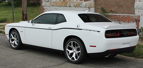 Side of White R/T Dodge Challenger Factory Stripe style SXT SIDE KIT 2011-2020 2021