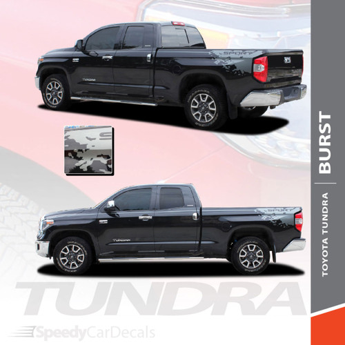 BURST | Toyota Tundra Rear Bed Vinyl Graphics with Upper Body Accent Stripe Decals Kit 2015-2021 Premium Auto Striping