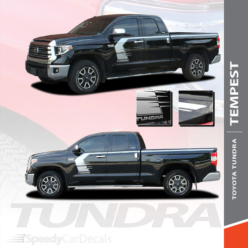 TEMPEST | Toyota Tundra Side Body Vinyl Graphics Door to Bed Upper Accent Decal Stripes Kit Premium Auto Striping