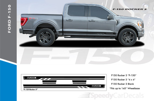 2021 Ford F150 Rocker Side Stripes Decals 150 ROCKER THREE Premium Auto Striping