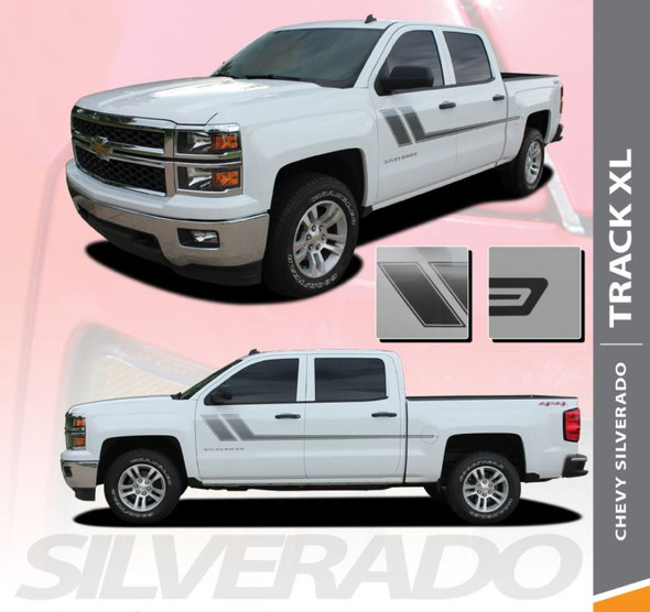 Chevy Silverado Stripes TRACK XL Side Door Body Hockey Decal Vinyl Graphic Kit for 2010 2011 2012 2013 2014 2015 2016 2017 2018