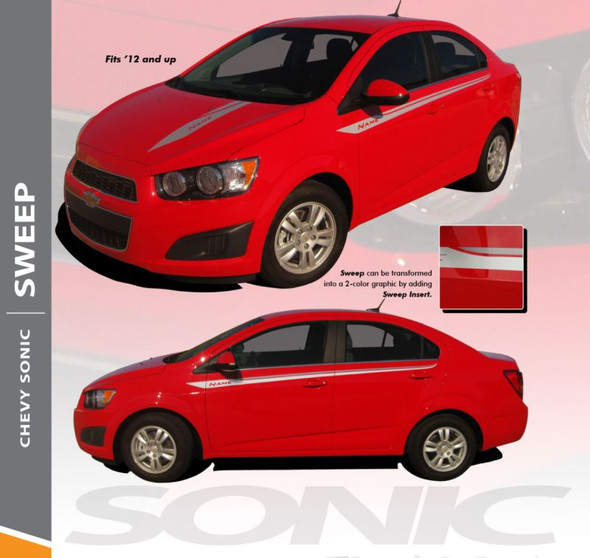 Chevy Sonic SWEEP Hood Graphic Lower Rocker Panel Striping Vinyl Graphics and Decals 2012 2013 2014 2015 2016