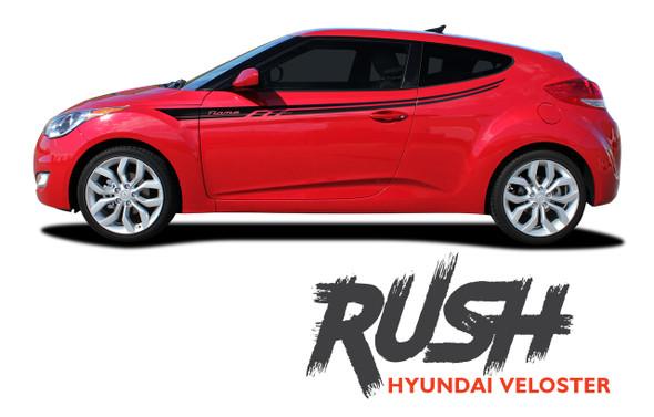 Hyundai Veloster RUSH Vinyl Graphic Stripes Decal Kit for 2011 2012 2013 2014 2015 2016 2017 2018