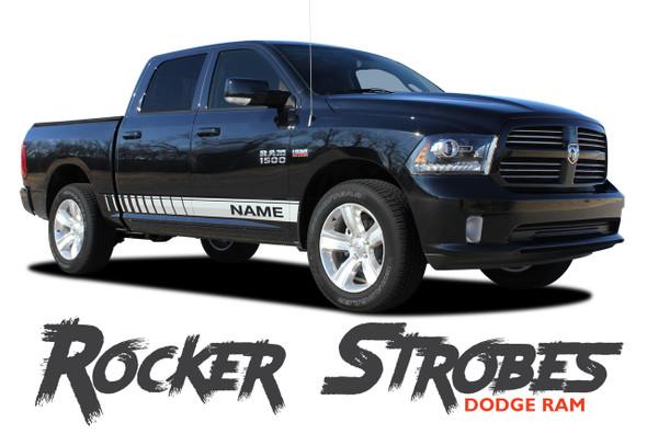 Dodge Ram ROCKER STROBES Lower Door Rocker Panel Body Stripes Vinyl Graphics Kit 2009-2018 Models