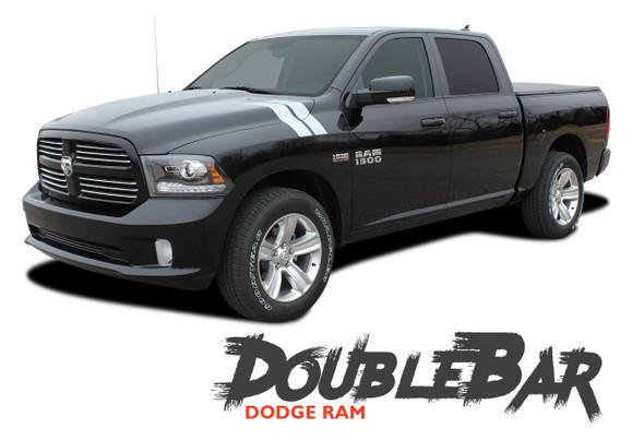 Dodge Ram DOUBLE BAR Hood Hash Marks Slash Stripes Decals Vinyl Graphics Kit 2009-2018 Models
