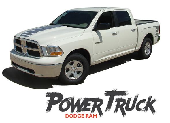 Dodge Ram POWER Center Strobe Hood Rear Body Bed Stripe Decal Vinyl Graphics Kit 2009-2018 Models