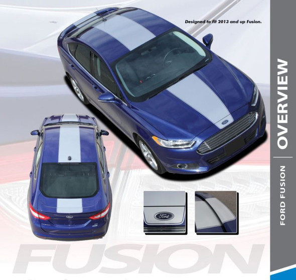 Ford Fusion OVERVIEW Center Hood Roof Trunk Rally Striping Vinyl Graphics Decals Stripe Kit 2013 2014 2015 2016 2017 2018 2019