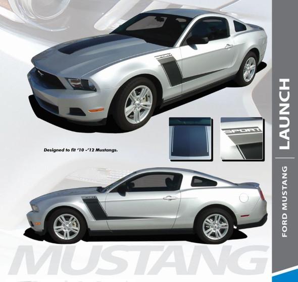 Ford Mustang LAUNCH Hood Side Door Hockey Stripes Body Decals Vinyl Graphics Kit 2010 2011 2012 Models