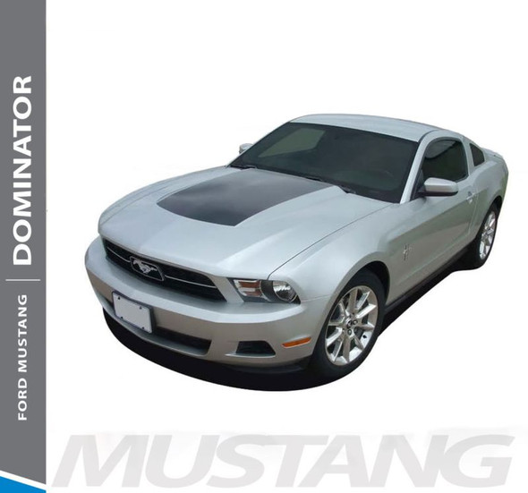Ford Mustang DOMINATOR HOOD Center Blackout Vinyl Graphics Decal Stripe Kit 2010 2011 2012 Models