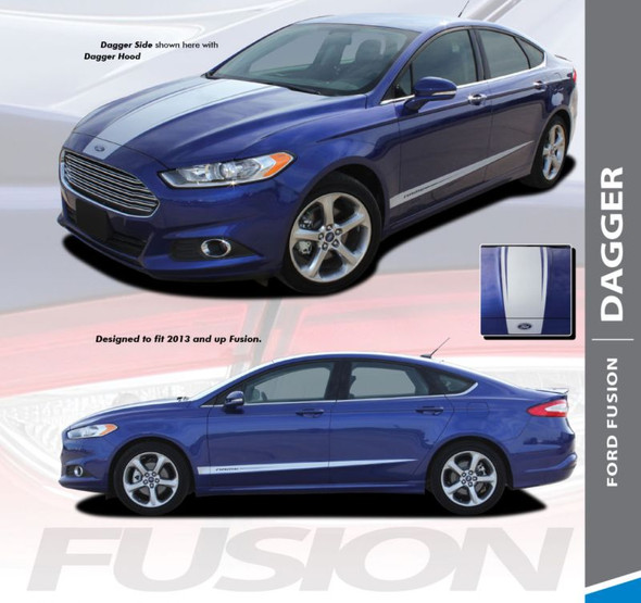 Ford Fusion DAGGER Center Hood Rocker Panel Door Striping Vinyl Graphics Decals Stripe Kit 2013 2014 2015 2016 2017 2018 2019