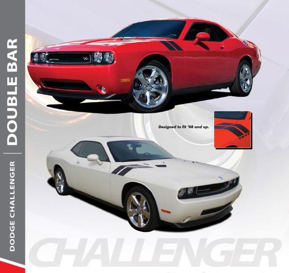 Dodge Challenger DOUBLE BAR Hood Fender Stripes Hash Slash Vinyl Graphic Decals Stripes 2010 2011 2012 2013 2014 2015 2016 2017 2018 2019 2020