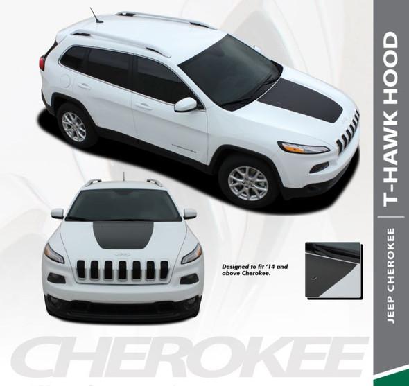 Jeep Cherokee T-HAWK Trailhawk Hood Center Blackout Vinyl Graphics Decal Stripe Kit for 2013 2014 2015 2016 2017 2018 2019