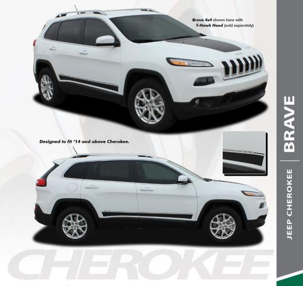 Jeep Cherokee BRAVE Lower Rocker Panel Side Door Body Vinyl Graphics Decal Stripe Kit for 2013 2014 2015 2016 2017 2018 2019