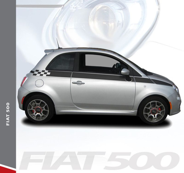 Fiat 500 SE5 CHECK Upper Body Door Accent Abarth Vinyl Graphics Stripes Decals Kit for 2007-2018 Models