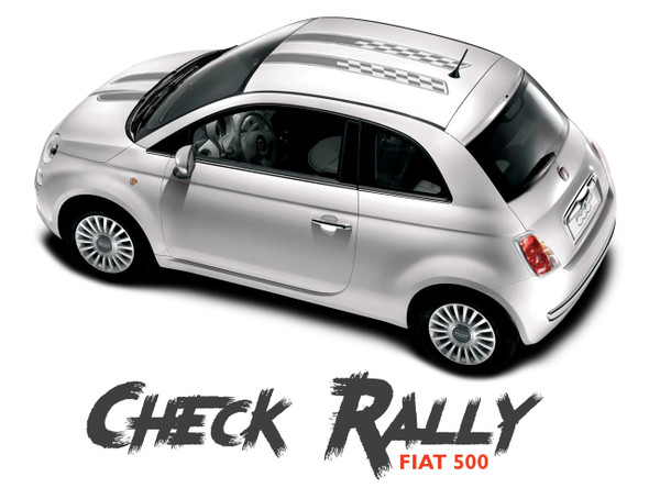 Fiat 500 CHECK RALLY Abarth Hood Roof Racing Stripes Vinyl Graphics Decals Kit for 2007-2018 Models