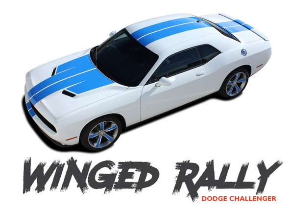 Dodge Challenger WINGED RALLY 15 Vinyl Graphics 10 inch Racing Stripes Decals with Split Hood Kit 2015 2016 2017 2018 2019 2020