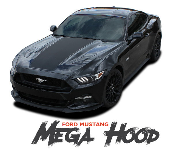 Ford Mustang MEGA HOOD Wide Center Hood Racing Rally Stripes Vinyl Graphics Decals Kit 2015 2016 2017