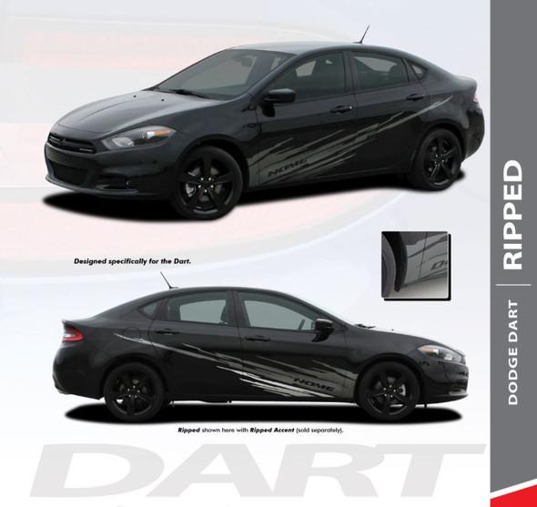 Dodge Dart RIPPED Lower Door Splash Rocker Vinyl Graphic Body Striping for 2013 2014 2015 2016