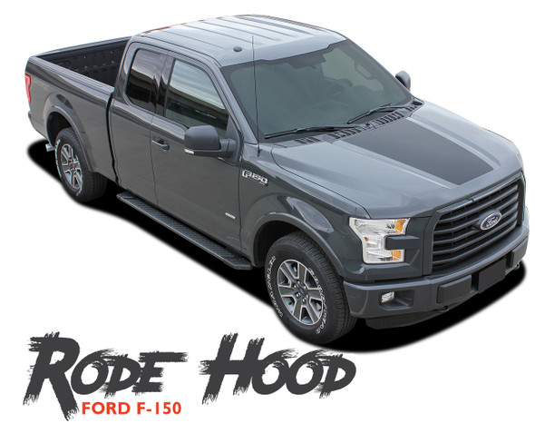 Ford F-150 RODE HOOD Center Hood Blackout Vinyl Graphic Decal Stripe Kit for 2015 2016 2017 2018 2019