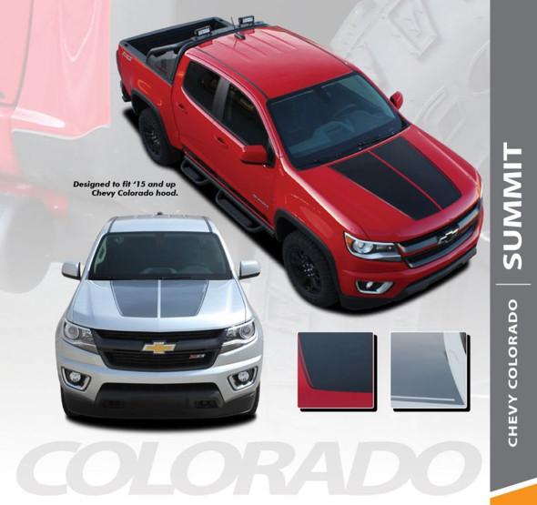 Chevy Colorado SUMMIT Hood Dual Racing Stripe Factory Style Hood Package Vinyl Graphic Decal Kit fits 2015 2016 2017 2018 2019