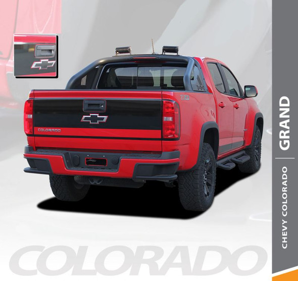 Chevy Colorado GRAND Rear Tailgate Blackout Accent Vinyl Graphic Decal Stripe Kit 2015 2016 2017 2018 2019