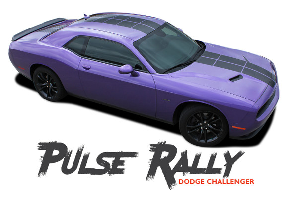 Dodge Challenger PULSE RALLY Strobe Hood to Trunk Vinyl Graphic Racing Rally Stripes Kit 2008-2020 Models