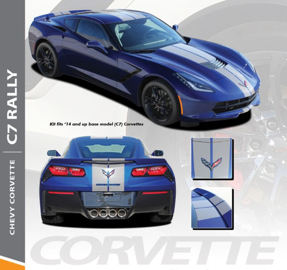 Chevy Corvette C7 RALLY Racing Stripes Bumper to Bumper Hood Roof Trunk Vinyl Graphic Decal Kit for 2014 2015 2016 2017 2018 2019