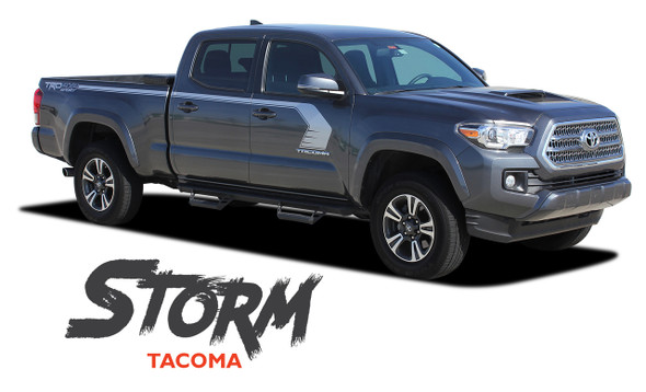 Toyota Tacoma TRD STORM Upper Body Door to Bed Side Accent Vinyl Graphic Striping Decal Kit for 2015 2016 2017 2018 2019