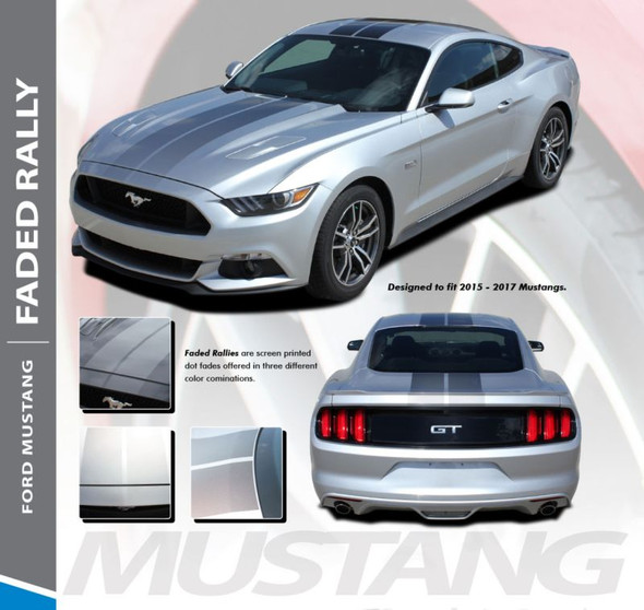Ford Mustang FADED RALLY Digital Fade Racing Stripes Hood Roof Spoiler Striping Vinyl Graphics Kit fits 2015 2016 2017 Models
