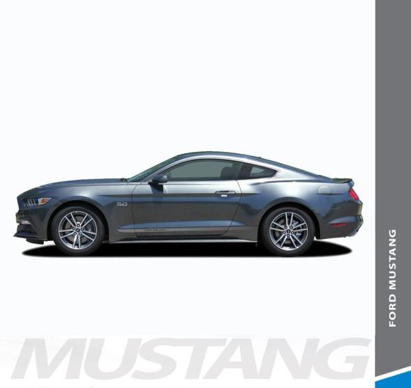Ford Mustang FADED TRILINE ROCKERS Digital Fade Lower Door Rockers Stripes Vinyl Graphics Kit fits 2015 2016 2017 Models