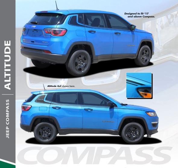 Jeep Compass ALTITUDE Upper Door Body Line Accent Vinyl Graphics Decal Stripe Kit for 2017 2018 2019